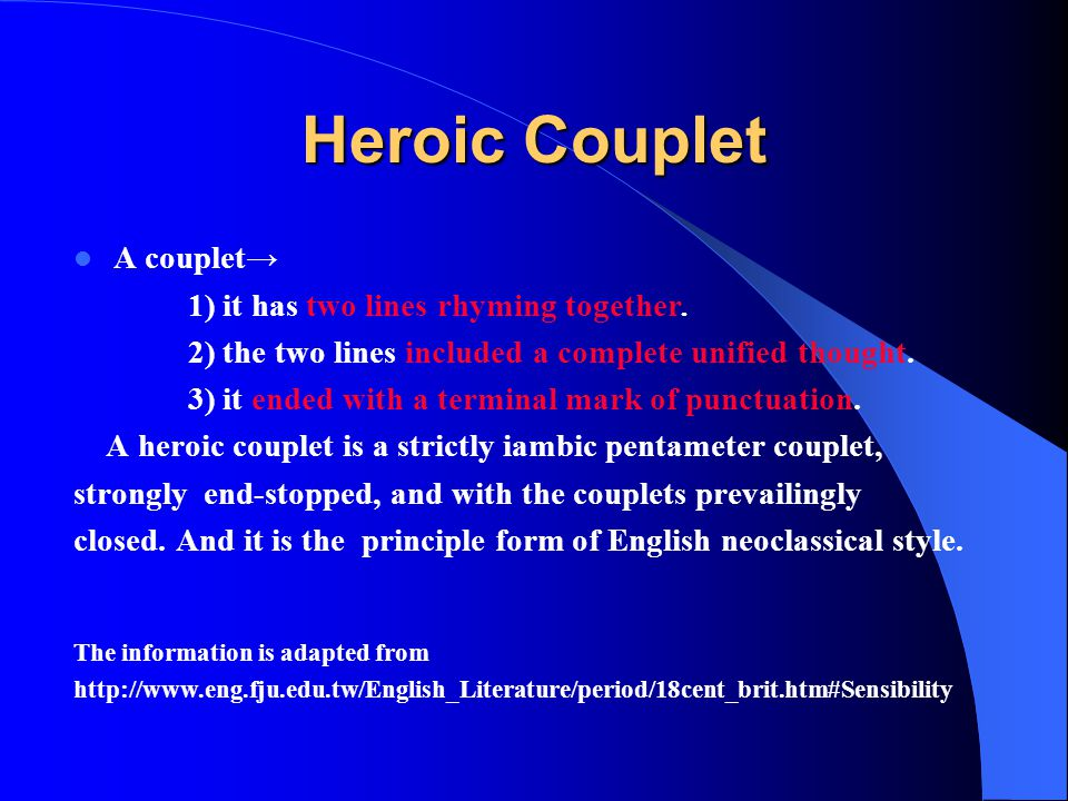 heroic couplets from an essay on man