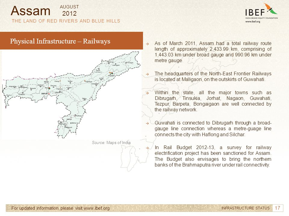 Assam Physical Infrastructure – Railways 2012