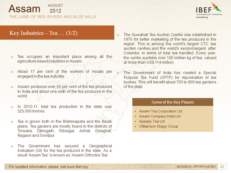 Assam Key Industries – Tea … (1/2) 2012