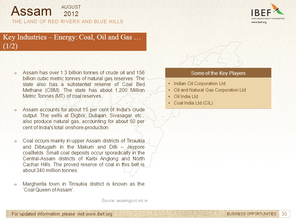 Assam Key Industries – Energy: Coal, Oil and Gas … (1/2) 2012