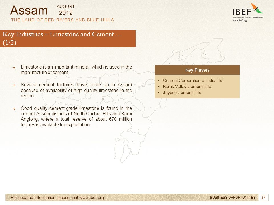 Assam Key Industries – Limestone and Cement … (1/2) 2012 Key Players