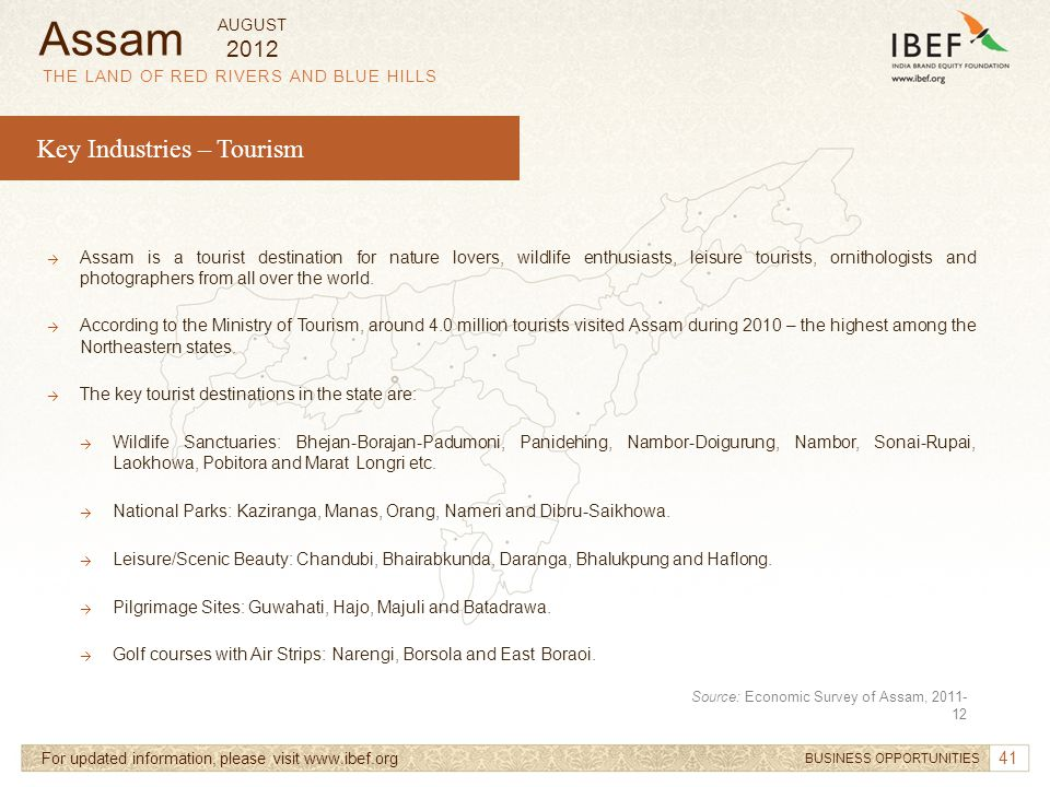 Assam Key Industries – Tourism 2012