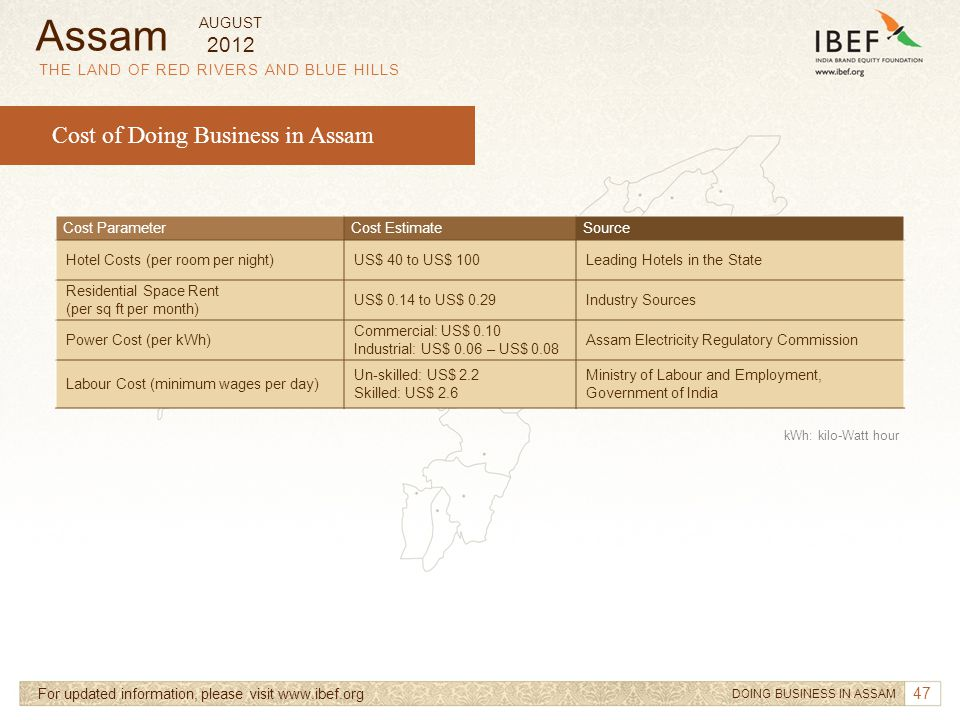 Assam Cost of Doing Business in Assam 2012 AUGUST