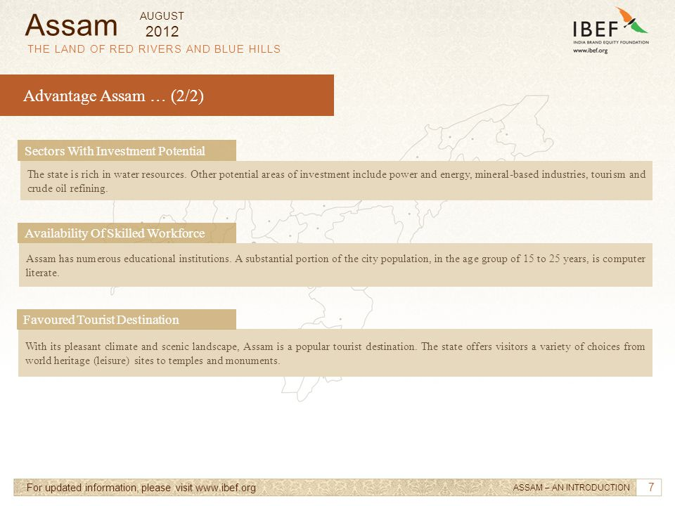 Assam Advantage Assam … (2/2) 2012 Sectors With Investment Potential
