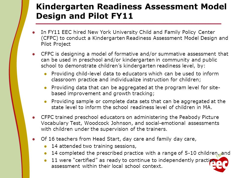 preschool readiness test department of early education and care initiatives 46808