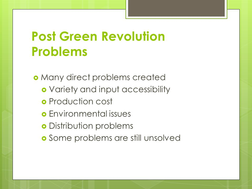 Post Green Revolution Problems