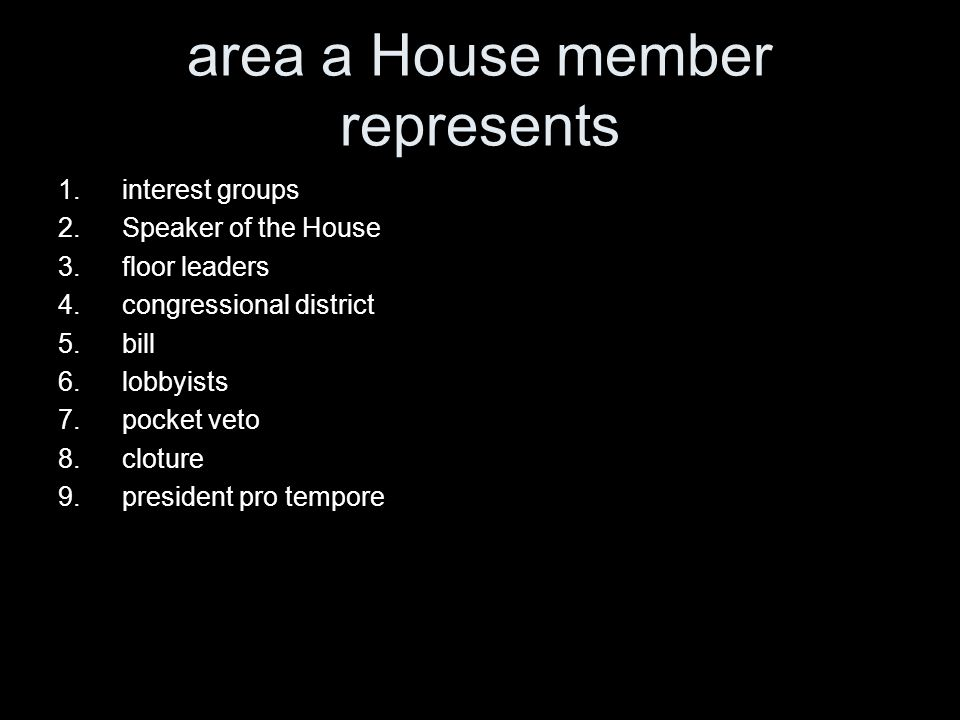area a House member represents