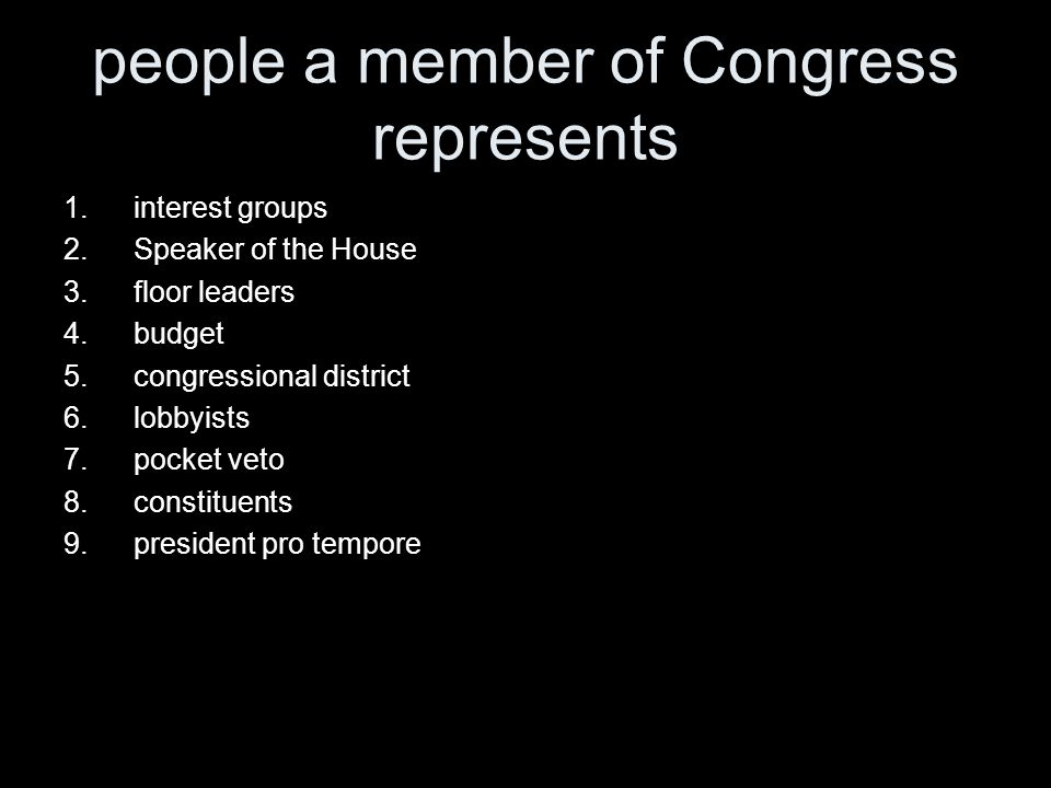 people a member of Congress represents