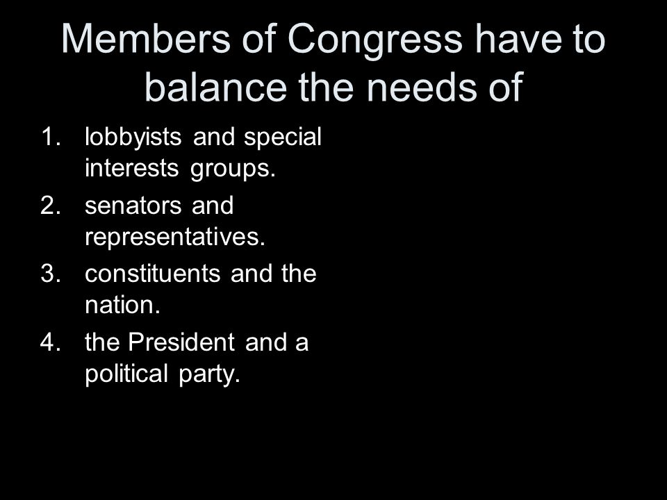 Members of Congress have to balance the needs of