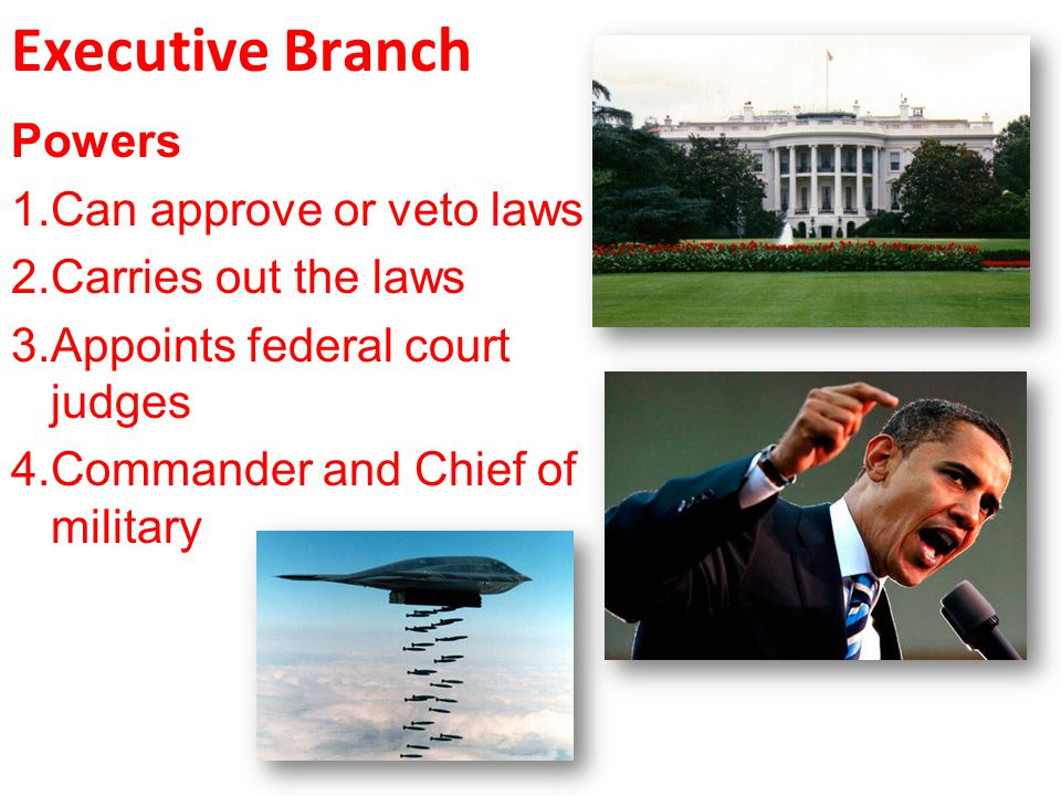 Executive Branch Powers Can approve or veto laws Carries out the laws