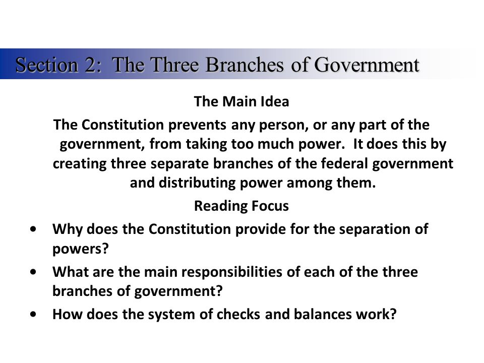 Describe how the three branches of government are supposed to interact.