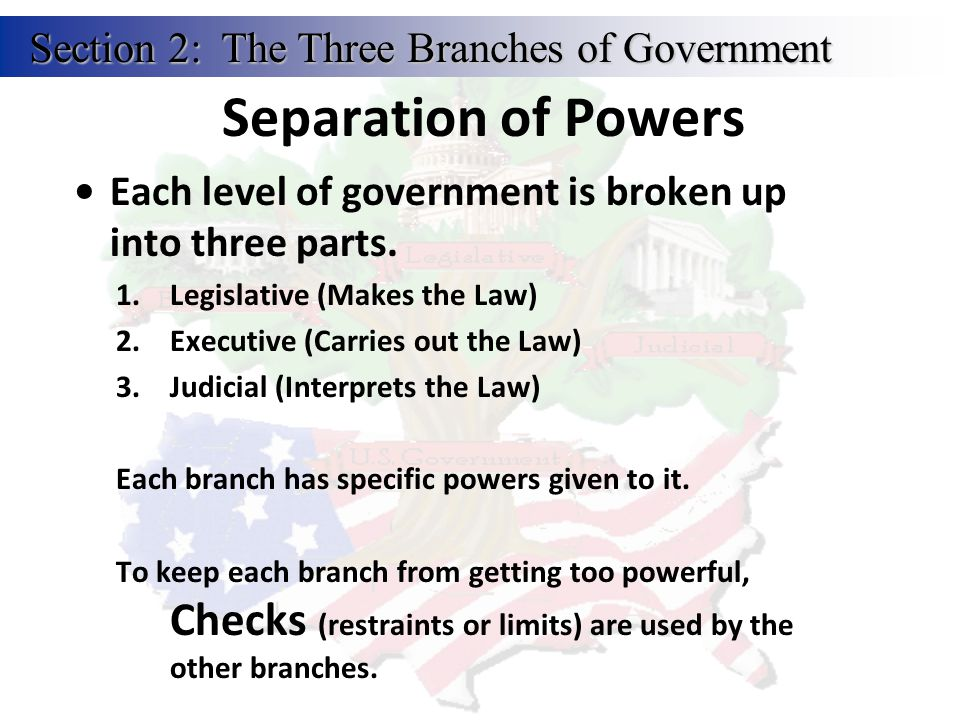 Separation of Powers Section 2: The Three Branches of Government