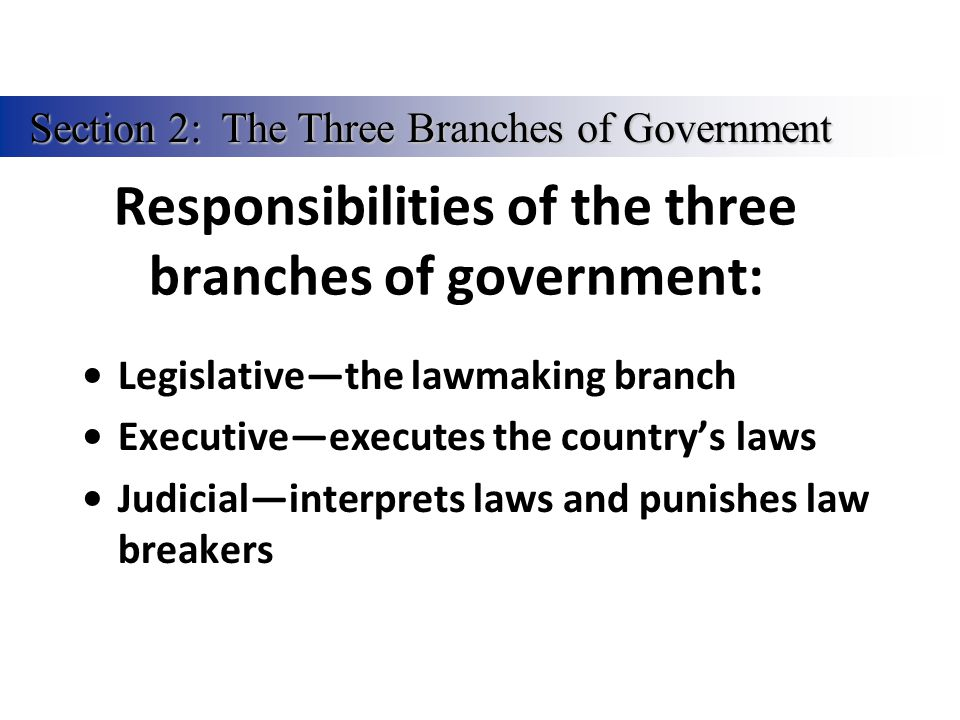 Responsibilities of the three branches of government: