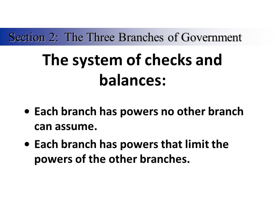 The system of checks and balances: