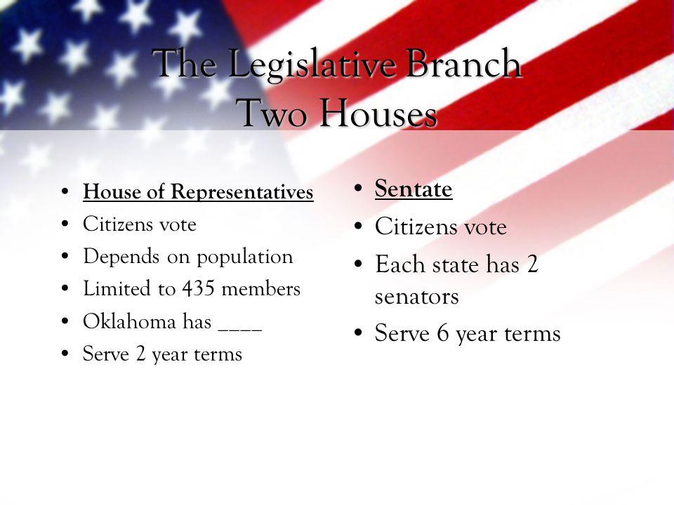 The Legislative Branch Two Houses