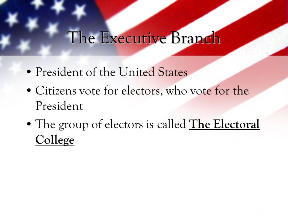 The Executive Branch President of the United States
