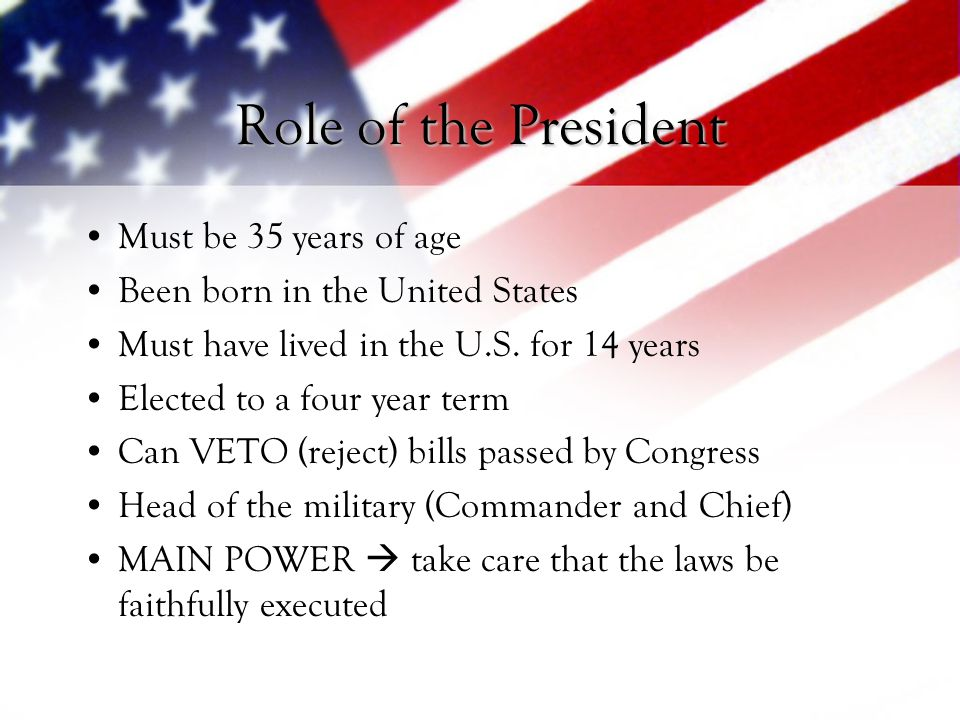 Role of the President Must be 35 years of age