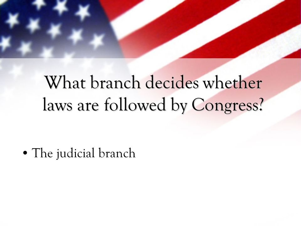 What branch decides whether laws are followed by Congress
