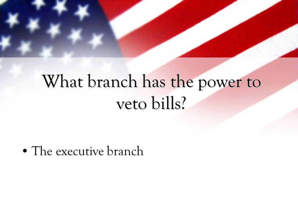 What branch has the power to veto bills
