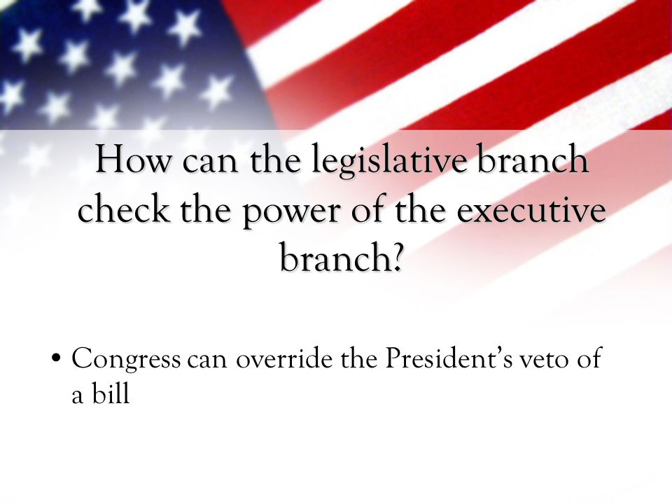How can the legislative branch check the power of the executive branch