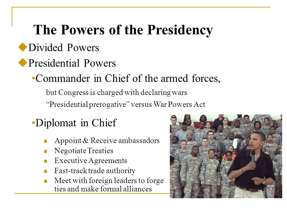 the power of presidency The powers of the president according to article ii of the constitution the  president has the following powers: serve as commander in chief of the armed  forces.