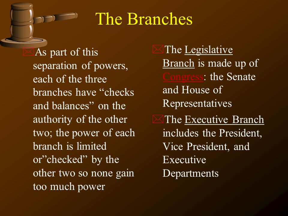 The Branches The Legislative Branch is made up of Congress: the Senate and House of Representatives.