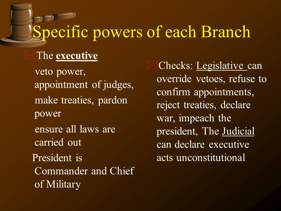 Specific powers of each Branch