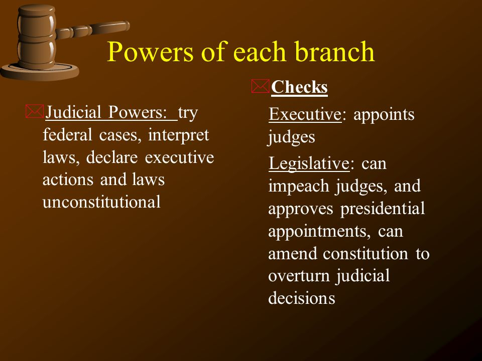 Powers of each branch Checks Executive: appoints judges