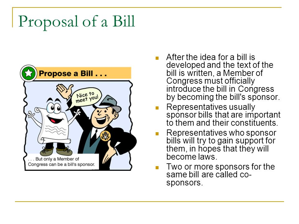 Proposal of a Bill