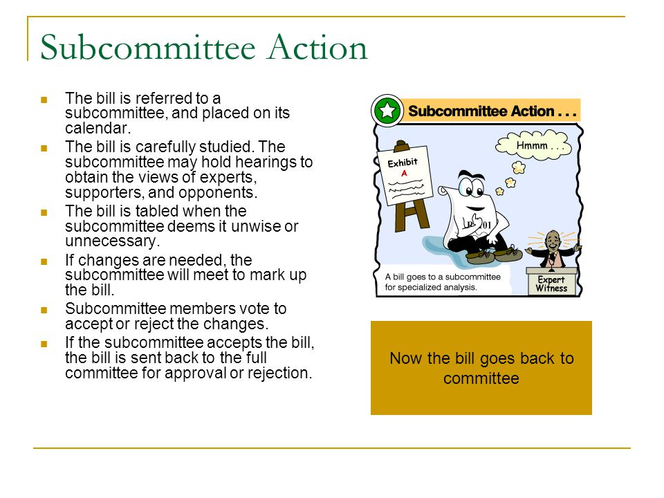 Now the bill goes back to committee