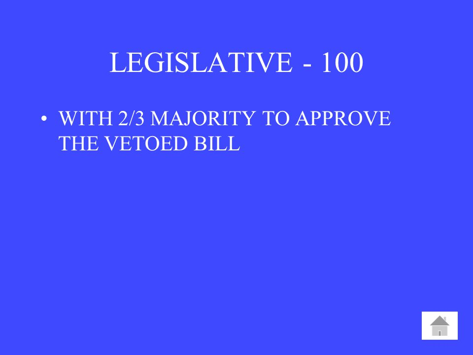 LEGISLATIVE WITH 2/3 MAJORITY TO APPROVE THE VETOED BILL
