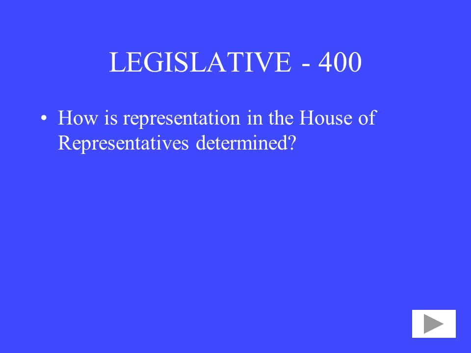 LEGISLATIVE How is representation in the House of Representatives determined