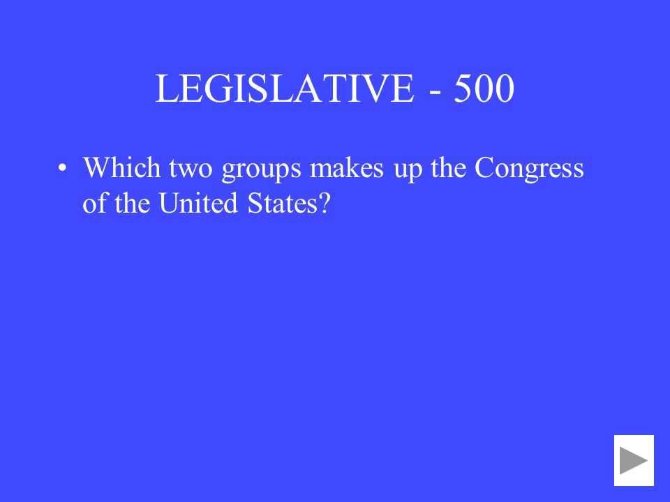 LEGISLATIVE Which two groups makes up the Congress of the United States