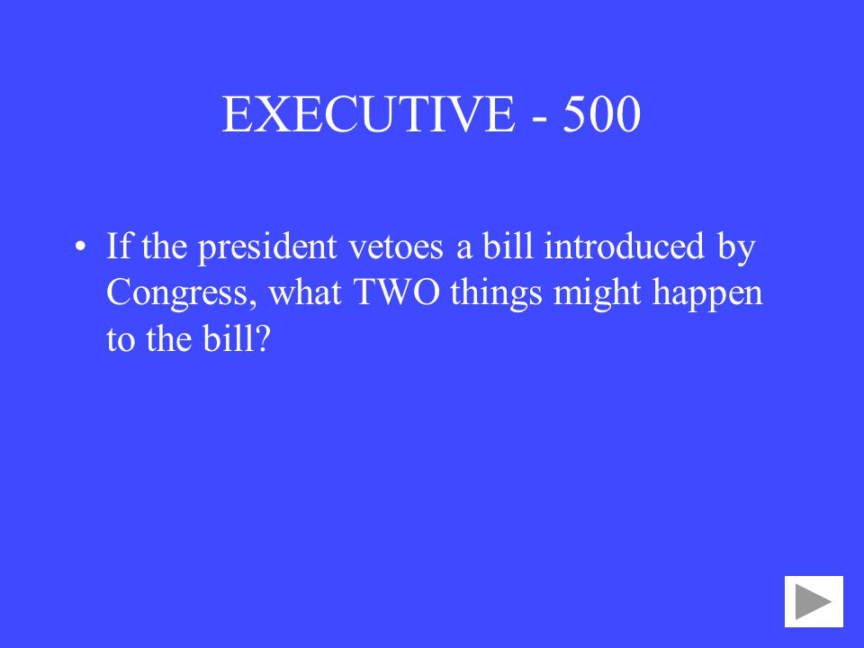 EXECUTIVE If the president vetoes a bill introduced by Congress, what TWO things might happen to the bill