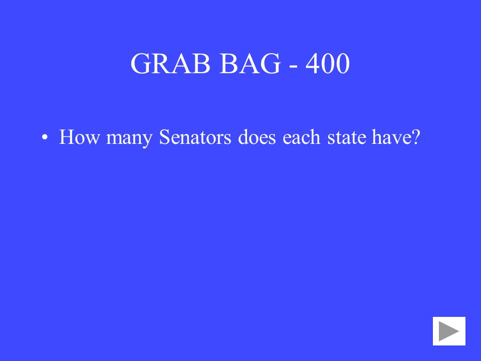 GRAB BAG How many Senators does each state have