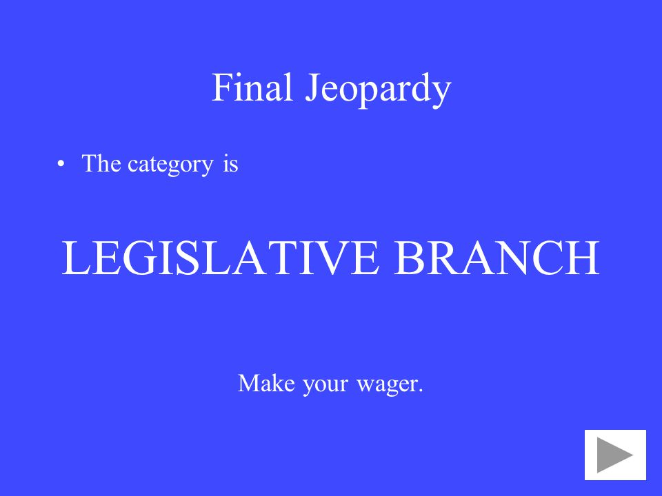 Final Jeopardy The category is LEGISLATIVE BRANCH Make your wager.