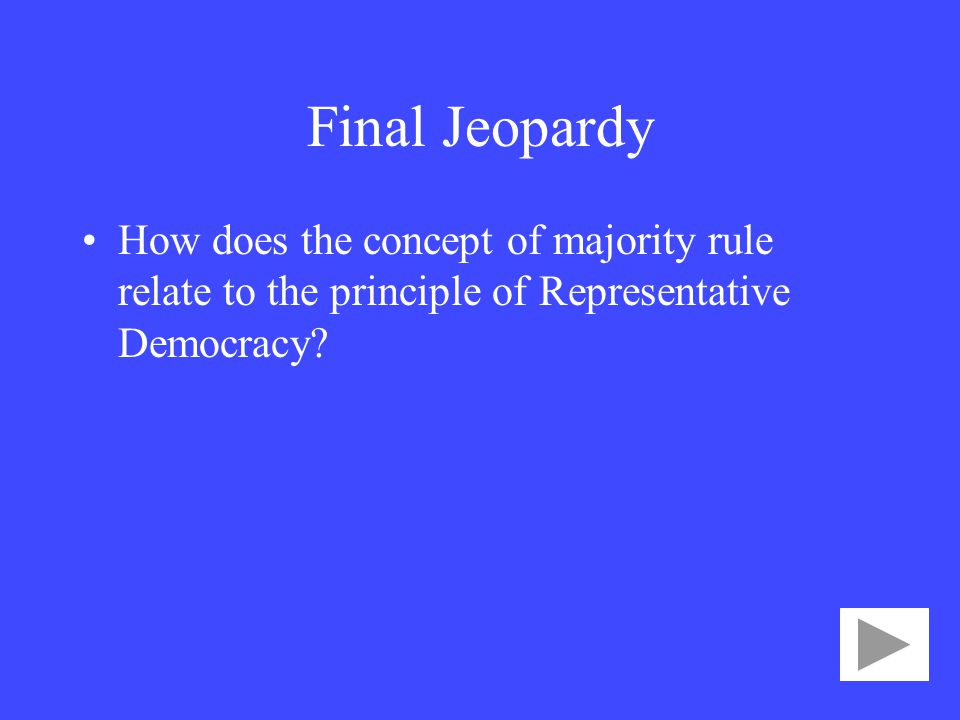 Final Jeopardy How does the concept of majority rule relate to the principle of Representative Democracy