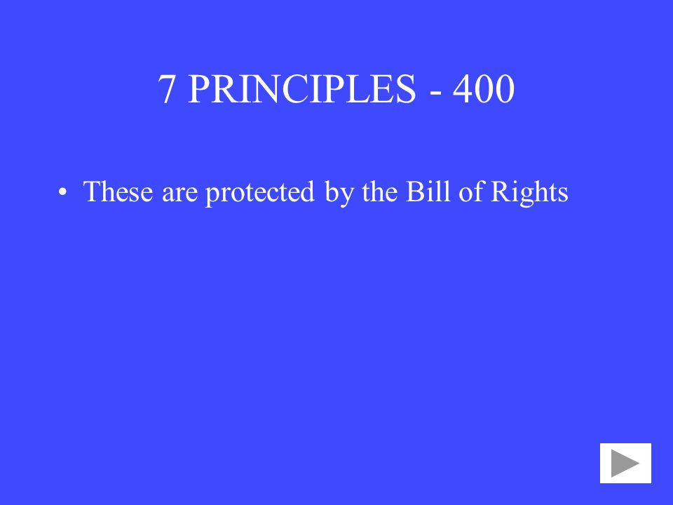 7 PRINCIPLES These are protected by the Bill of Rights