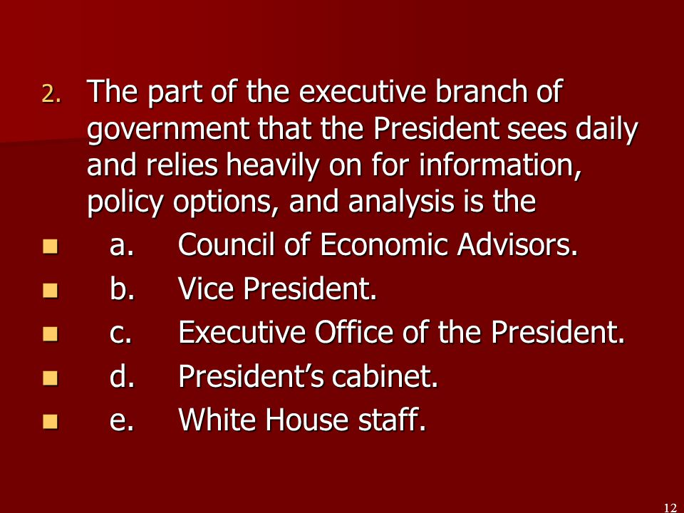 Article II The Executive Branch - ppt video online download