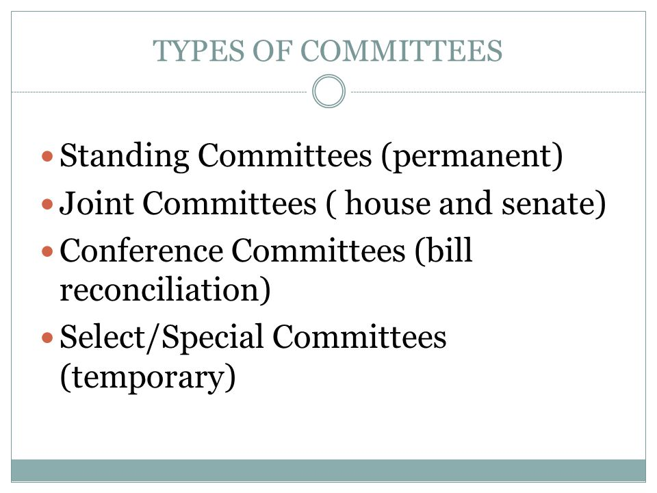 Standing Committees (permanent) Joint Committees ( house and senate)