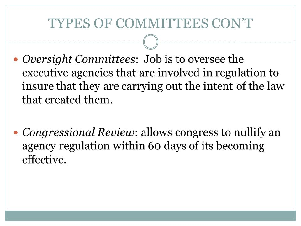 TYPES OF COMMITTEES CON'T
