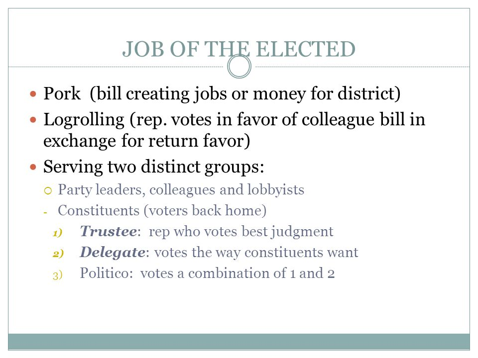 JOB OF THE ELECTED Pork (bill creating jobs or money for district)