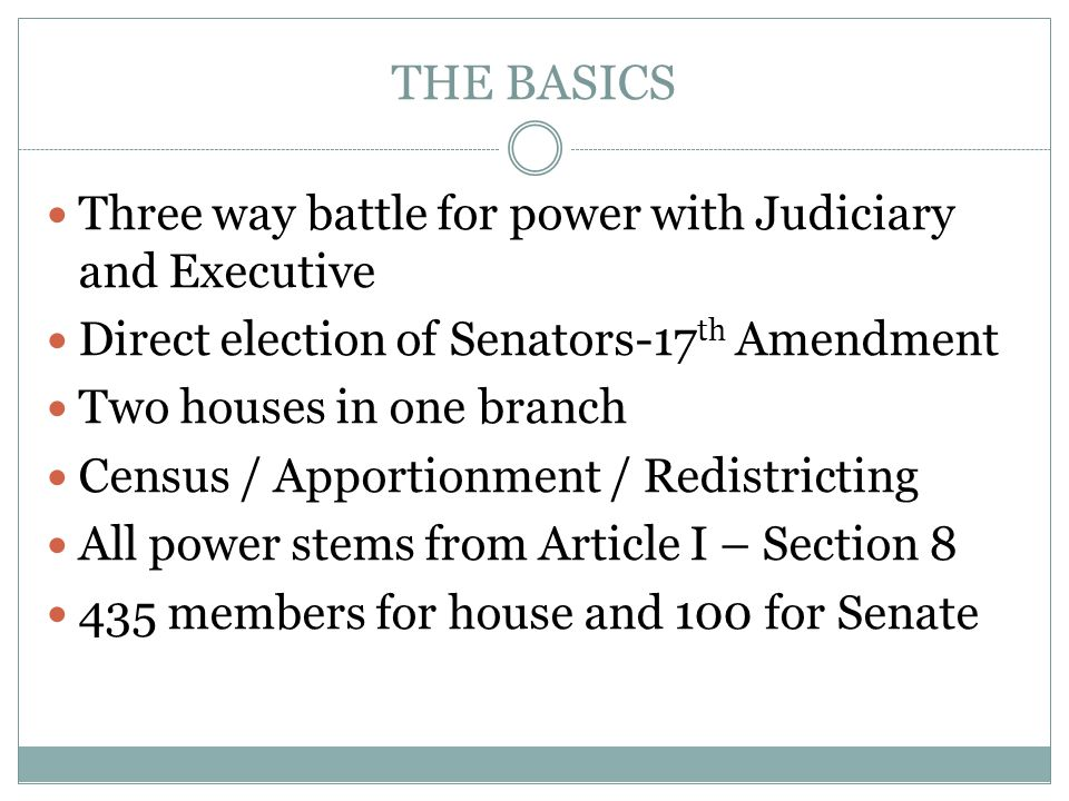 THE BASICS Three way battle for power with Judiciary and Executive