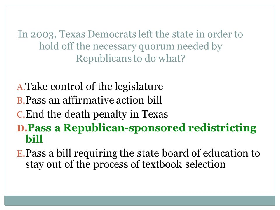 Take control of the legislature Pass an affirmative action bill