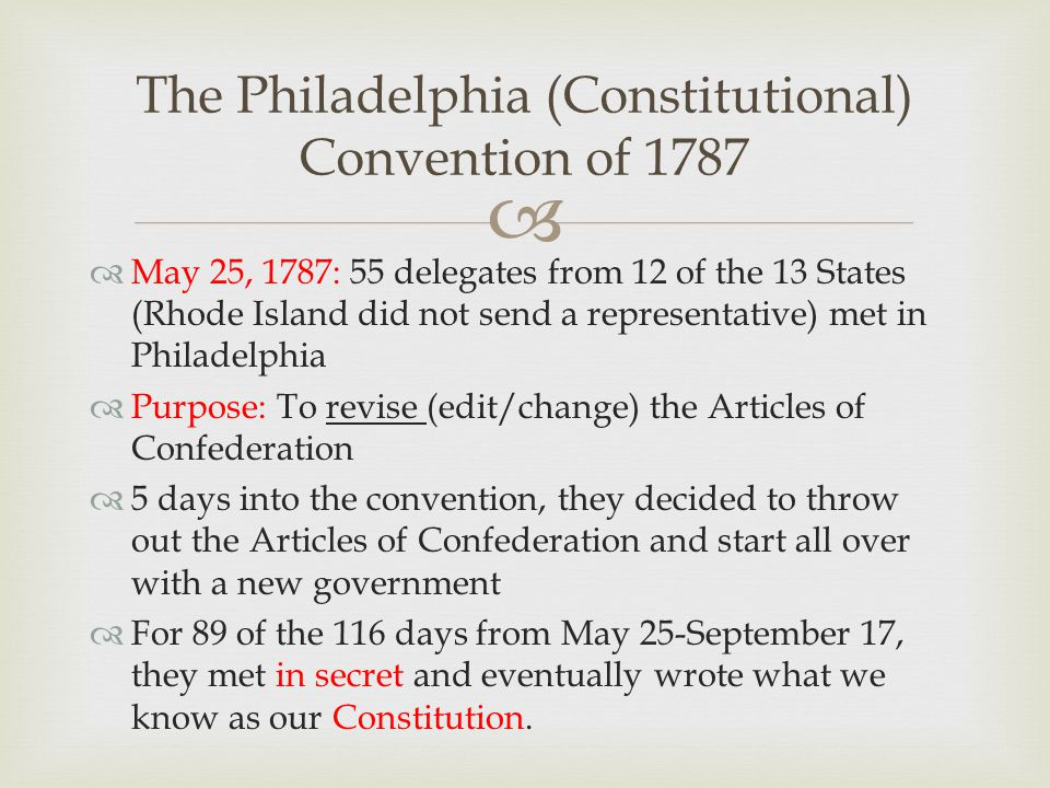 constitutional convention of 1787 The founding fathers delegates to the constitutional convention on february 21, 1787, the continental congress resolved that: it is expedient that on the second monday in may next a convention of delegates who shall have been appointed by the several states be held at philladelphia for the sole and express purpose of revising the articles.