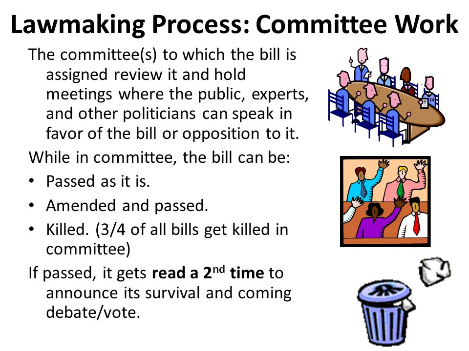 the process of passing a bill The process by which a bill becomes law is rarely predictable and can vary significantly from bill to bill in fact, for many bills, the process will not follow the sequence of congressional stages that are often understood to make up the legislative process.
