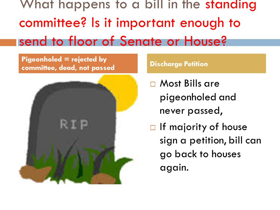 what happens to a bill in a standing committee