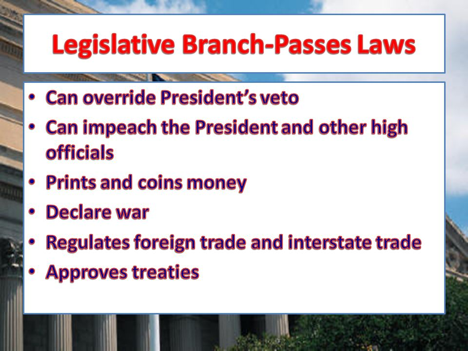 Legislative Branch-Passes Laws