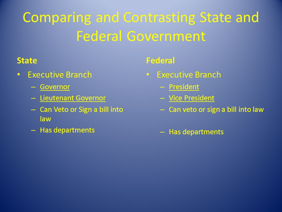 compare and contrast federal and state Federal versus state government  it gave power to both the federal government and the state governments this system is called federalism.