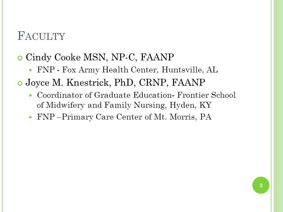 Faculty Cindy Cooke MSN, NP-C, FAANP